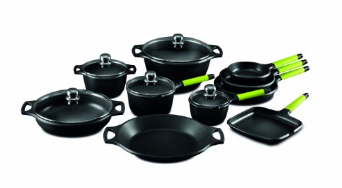 Fundix by Castey 15-Piece Nonstick Cast Aluminum Induction Set with Removable Kiwi (4 Quart Sauteuse Pan)
