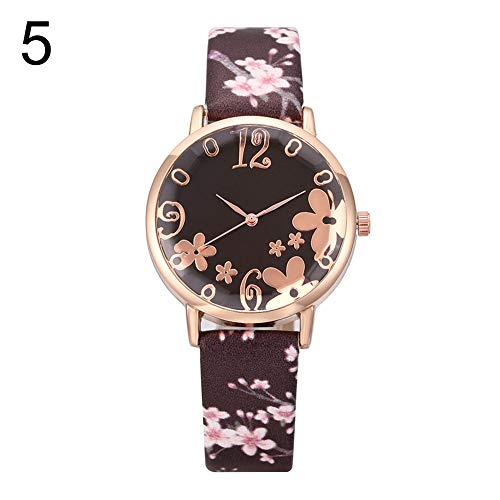 haixclvyE Creative Floral Round Dial Analog Faux Leather Band Women Quartz Wrist Watch Women Gift Birthday Gift 5# ()