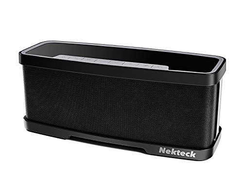 Nekteck NK-S1 Bluetooth Speakers 2.1 Channel Wireless Portable Speaker with Mic, Stereo 20W Premium Audio from 10W Drivers, 10W Subwoofer and Dual Passive Radiators, 2 Mode Equalizer - Black