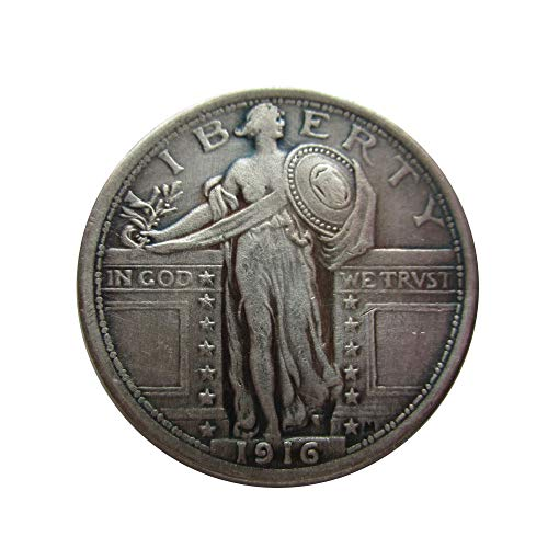 Rare Antique USA United States 1916 USA Standing Liberty Quarter Dollar Silver Color Coin