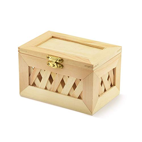 Unfinished Wood Box - Trinket Box - Small Jewelry Box, Nested, Beautiful Lattice Design, with Hinged Lid and Clasp (Small)