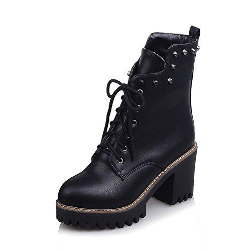 Rivet Ladies Chunky Imitated amp;N Heels Black Boots Leather A Bandage 5vOtZqZ
