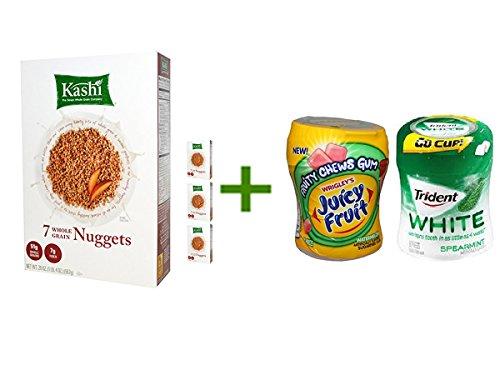 Kashi, 7 Whole Grain Nuggets, 20 oz (567 g) ( 4 PACK ) + Fruity Chews Gum Watermelon 1/60 Count + Trident Go Cup Spearmint 1/60 Count (BUNDLE) ()