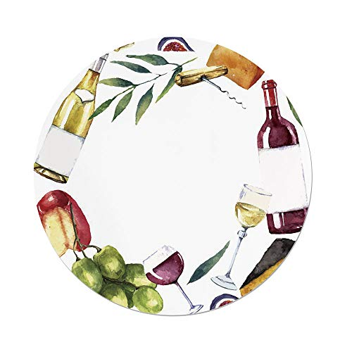 - Polyester Round Tablecloth,Wine,Round Frame with Hand Painted Food Objects Watercolor Wine Cheese Fruits Collection Decorative,Multicolor,Dining Room Kitchen Picnic Table Cloth Cover,for Outdoor Indo
