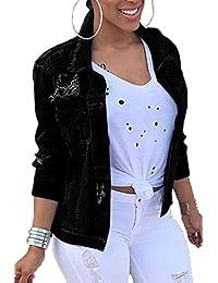 Women Denim Jackets Distressed Plus Size Long Sleeve Jean Jacket Coats