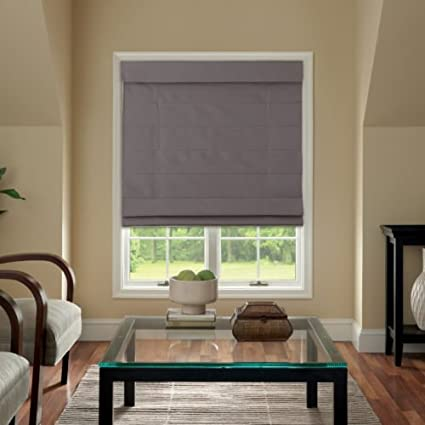 Cordless Fabric Roman Shade Dark Gray 23x64