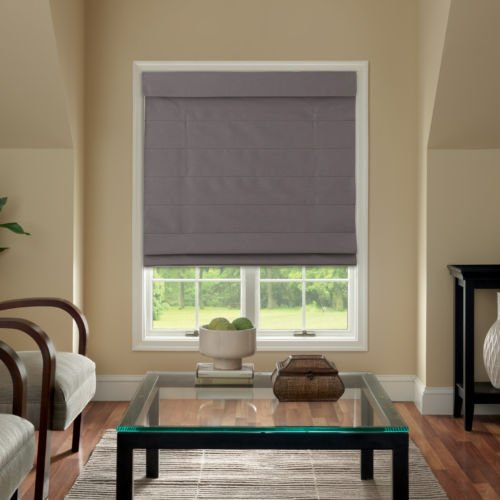 Cordless Fabric Roman Shade Dark Gray - Roman Window Treatments