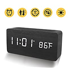 Wooden Alarm Clock, Warmhoming LED Digital Clock with White Backlight, Voice Control and Display Time, Date, Temperature for Home & Office (Black)