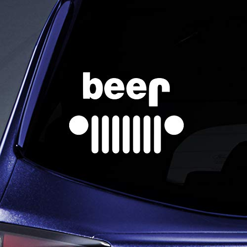 Bargain Max Decals - Jeep Funny Beer Sticker Decal Notebook Car Laptop 6 (White)