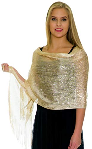 Shawls and Wraps for Evening Dresses, Wedding Shawl Wrap Fringes Scarf for Women Champagne Gold Petal ()