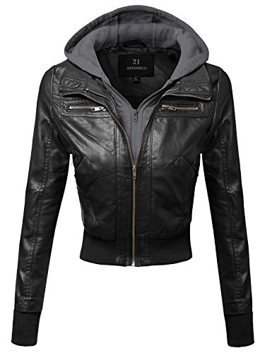Awesome21 Womens Leather Bomber Military