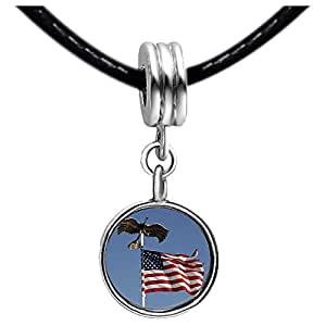 Chicforest Silver Plated Veterans Freedom bald eagle American flag Photo Red Zircon Crystal July Birthstone Flower dangle Charm Beads Fits Pandora Charm