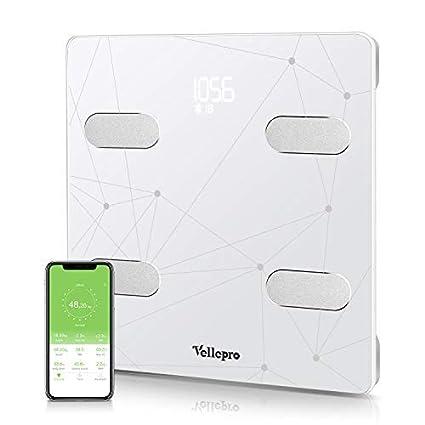 Báscula de grasa corporal Vellepro Bluetooth inteligente, escala de composición corporal inteligente, balanza inalámbrica inteligente de ...