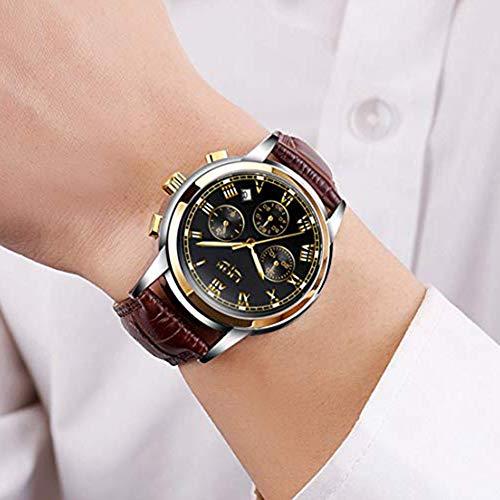 4cf9ddcaee2 Mens Watches Leather Band Waterproof 30M Calendar Wrist Watch for Men  Teenager Boys