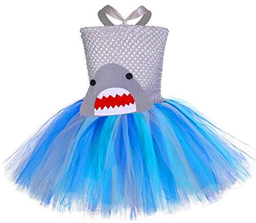 Tutu Dreams Baby Shark Tutu Outfit Toddler Girl Blue Tutu Costumes Birthday Gifts Photo Props (Shark, Small)]()