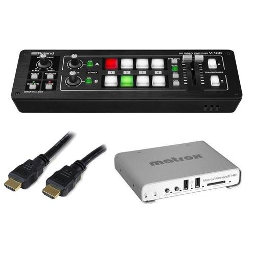 Price comparison product image Roland V-1HD HD Video Switcher - BUndle With Matrox Monarch HD Device Video Streaming and Recording, StarTech 25' High Speed HDMI Cable