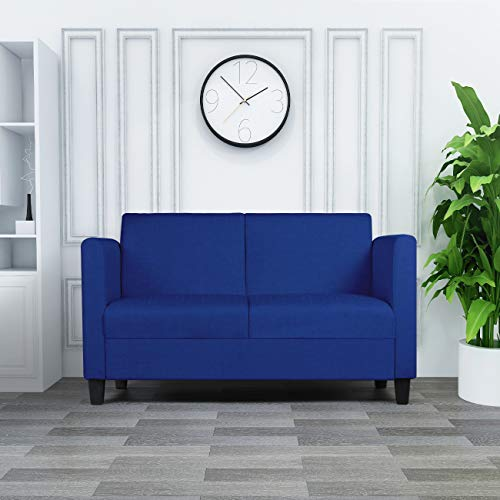 Modern Small Loveseats Couch Casual Loveseat Sofa Contemporary Upholstered Comfortable Fabric Furniture Living Room and Office (Blue ()