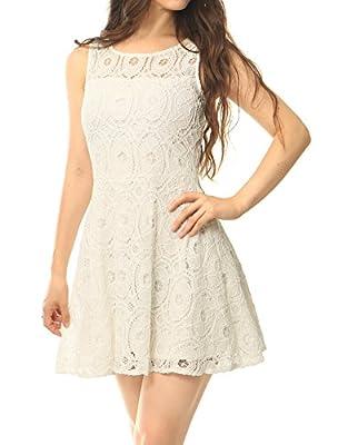 Allegra K Women Sleeveless Semi Sheer Yoke Floral Lace Mini Flare Dress