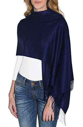 (Pashmina Wrap for Women – Navy Cashmere Fashion Shawl with Twisted Fringes (28 x 74 inches), by Amicale)