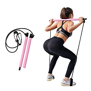 Well-Being-Matters 41KyN0ZPeuL._SS300_ RIFFUE Portable Pilates Bar Kit with Resistance Band Portable Pilates for Total Body Workout Yoga Exercise Pilates with…