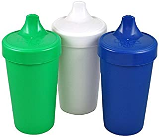product image for RE-PLAY Made in USA 3pk - 10 oz. No Spill Sippy Cups | Kelly Green, White, Navy | Eco Friendly Heavyweight Recycled Milk Jugs | Virtually Indestructible| BPA Free | Nautical