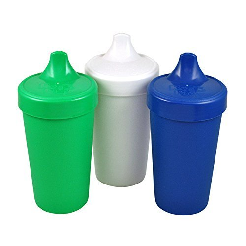 USA 3pk No Spill Sippy Cups for Baby, Toddler, and Child Feeding - Kelly Green, White, Navy Blue (Nautical) Durable, Dependable and Toddler Tough ()