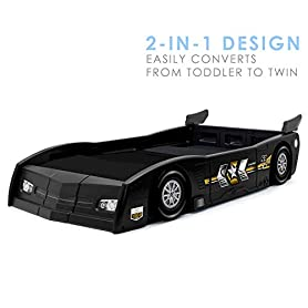 Delta Children Grand Prix Race Car Toddler & Twin Bed - Made in USA, Black 10