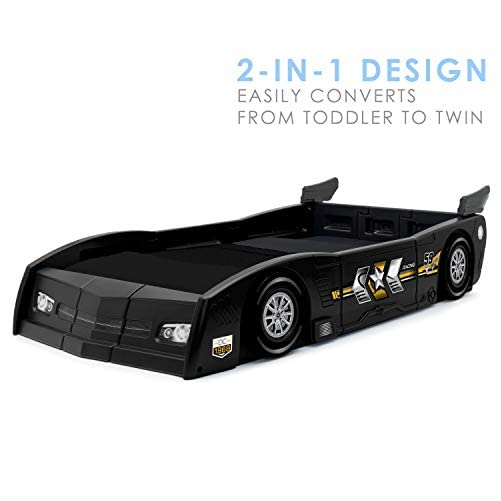 Delta Children Grand Prix Race Car Toddler & Twin Bed - Made in USA, Black 1