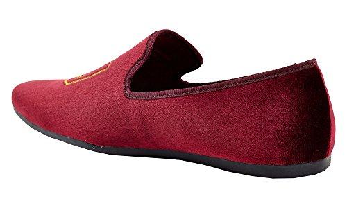 Franco Vanucci Mens Loafer Velvet Slip-On Smoking Slippers Embroidered Night Club Dress Shoe Burgundy-11 UWIAL8mjem