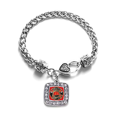Inspired Silver - Fire Department Badge Braided Bracelet for Women - Silver Square Charm Bracelet with Cubic Zirconia Jewelry ()