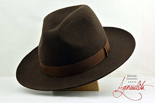 The Westerner - Chocolate Brown Wool Felt Fedora Hat - Wide Brim - Men Women by HNC-HatWorks