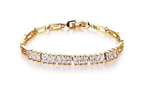 CS-DB 18K Gold Real 18K Yellow Gold Filled 8'' Bracelet Chain Women's Crystal Gem Stone Real (9 Ct Gold Bangles)