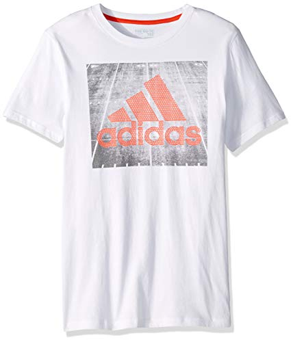adidas Boys' Big Short Sleeve Graphic Tee Shirt, Field c White/Orange L (14/16)