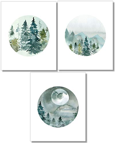 Forest Landscape Art Prints- Nature Wall Decor - Set of 3-8x10 - Unframed (Mountain Sale Paintings For)