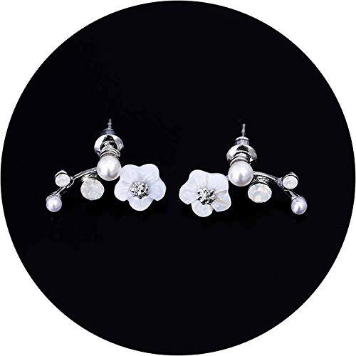 Korean Jewelry Zircon Pearl Heart Crystal Flower Angel Wings Geometry Stud Earrings For Women Statement Ear Jewelry,Silver ()