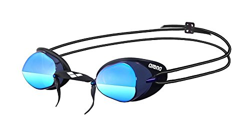Arena Swedix Mirror Race Swim Goggle,Smoke/Blue/Black,One Size