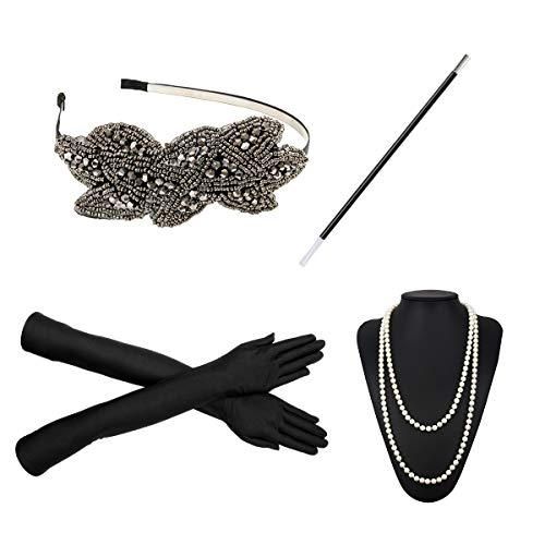 1920s Flapper Costume Accessories Set 20s Gatsby Pearl Necklace Headband Gloves Cigarette Holder Earrings (X22) -
