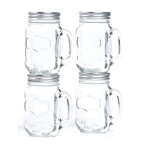 TTU Casual By Design 14 Oz Clear Glass Mugs With Metal Lids - 14 Oz Glass Jar