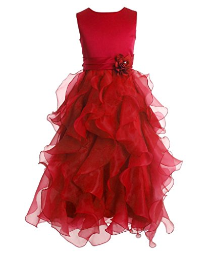 Price comparison product image FAIRY COUPLE Girl's Ankle Length Cascading Layered Pageant Party Dress K0172 12 Red