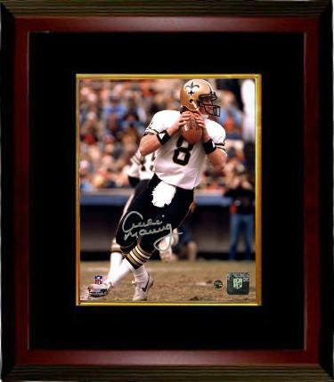Archie Manning Signed Photo - 16X20 Custom Framing white jersey passing vertical silver sig)- Hologram - Steiner Sports Certified