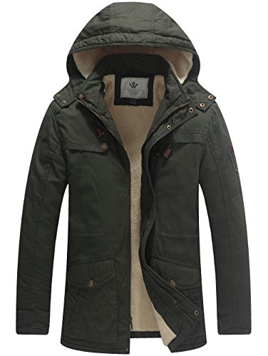 WenVen Men's Winter Warm Quilted Slim Fit Mid Length Hooded Sherpa Lined Parka Jacket(Army ()