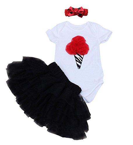 BabyPreg 3PCs Baby Girls' 1st Birthday Tutu Dress Onesie Skirt Headband Outfit (L/9-12 Months, Black) ()
