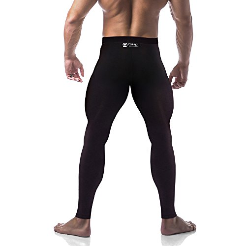 Copper Compression Mens Leggings/Pants / Tights. Guaranteed Highest Copper Content. #1 Copper Infused Active Fit Athletic/Activewear / Athleisure Form Fitting Black Pants. XL Waist Size 39-44