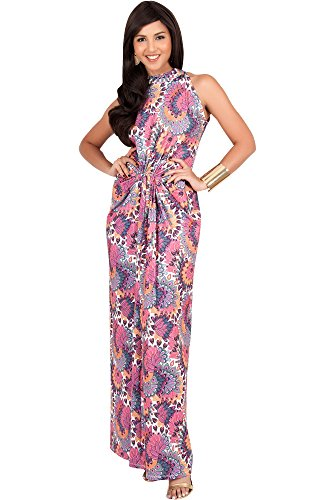 Halter Neck Dress Silk (KOH KOH Womens Long Sleeveless Sexy Summer Boho Bohemian Sundress Sun Sundresses Print Printed Halter Neck Casual Gown Gowns Maxi Dress Dresses, Pink and Purple L 12-14)