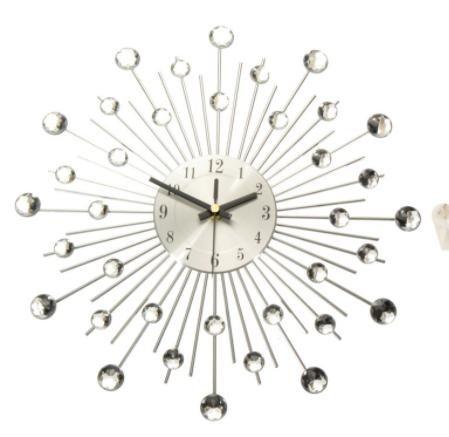 Charminer Metal Wall Clock Fashion Modern Decoration Clock With Rhinestones Fashion Luxury Living Room Art Clock - Edinburgh Hours Outlet