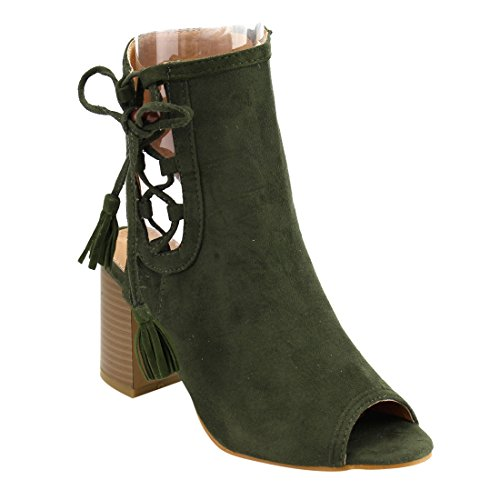Beston FH25 Womens Tassels Side Peep Toe Ankle Bootie Sandals Half Size Small Olive LHlVmnDSTc