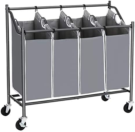 SONGMICS 4-Bag Laundry Cart Sorter, Rolling Laundry Basket Hamper, with 4 Removable Bags, Casters and Brakes, Gray URLS90GS