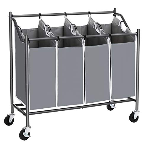 SONGMICS 4-Bag Laundry Cart Sorter, Rolling Laundry Basket Hamper, with 4 Removable Bags, Casters and Brakes, Gray - Casters Rolling Four