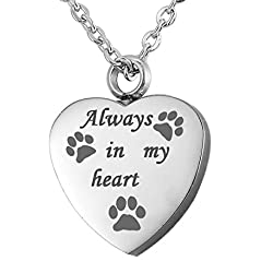 VALYRIA Memorial Always in my heart Pet Paw Cremation Urn Pendant Keepsake Necklace with Engraving