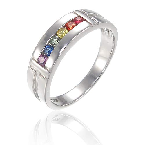 EQUALLI Genuine Rainbow Sapphire Amsterdam Ring in Solid .925 Sterling Silver | Artisan Handmade Jewelry (Size: 7)